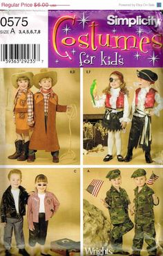 child cowboy space alien knight hobo gypsy childrens halloween costume simplicity 5408 sewing pattern size 7 8 10 12 14