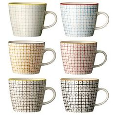 6 fine porcelain mugs of assorted colours, hand painted and glazed. Beautiful quality imprinted with a Bloomingville stamp on the bottom. Part of their best selling patterned porcelain range Mug Design, Deco Retro, Kitchenware, Tableware, Royal Doulton, Mugs Set, Scandinavian Design, Scandinavian Mugs, Mugs