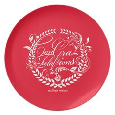 Congratulations and best wishes (white ver.) dinner plate