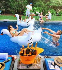 Champagne +pool party = genius