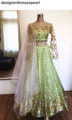 Mint green net with sequins work all over lehenga with net floral Embroidered choli Indian wedding wear Indian Gowns Dresses, Pakistani Dresses, Indian Attire, Indian Outfits, Indian Wear, Bridal Lehenga Collection, Indian Wedding Wear, Lehnga Dress, Lehenga Gown