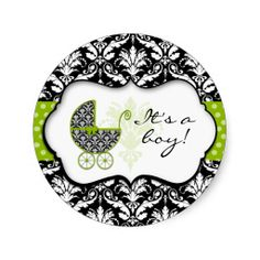 Chic Green Polka Dot Damask Stickers
