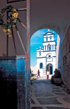Walk to Church in Anafi, Greece Places Around The World, Around The Worlds, Voyager C'est Vivre, Places In Greece, Greece Islands, Greece Travel, Beautiful Islands, Europe, Vacation Spots