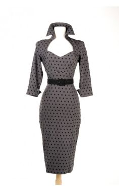 Pinup Girl Clothing- Lorelei Dress in Gray Bengaline with Dots | Pinup Girl Clothing