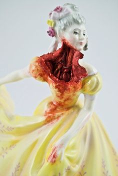 Jessica Harrison 'Kirsty'http://hifructose.com/2013/12/18/ceramic-figurines-with-a-gory-twist-by-jessica-harrison/