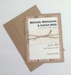 Handmade Rustic Save the Date: Tying the Knot- FREE US SHIPPING!