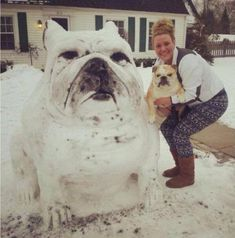 It's a giant snow bulldog!!