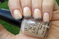 LOVE these neutral sweet french nails The color: OPI Coney Island Cotton Candy with Glitter Tips
