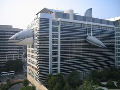 The Discovery Channel building during Shark Week