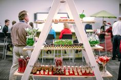 red and green dessert ladder display