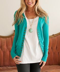 4250b9b074 Bella Ella Boutique Teal Brass Snap-Up Cardigan