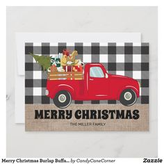 Merry Christmas Burlap Buffalo Plaid Truck Photos Holiday Card #zazzlemade Personalised Christmas Cards, Holiday Greeting Cards, Holiday Photo Cards, Christmas Presents, Christmas Holidays, Merry Christmas, Christmas Stuff, Buffalo Plaid, Paper Texture