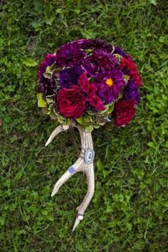 Unique rustic bouquet: http://www.stylemepretty.com/canada-weddings/alberta/2015/03/26/romantic-and-rustic-woodland-wedding/ | Photography: Just For You - http://jfyphotography.com/