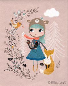 art, girl in nature with fox Rebecca_Jones_Nature-Girl Art And Illustration, Fuchs Illustration, Illustration Mignonne, Art Illustrations, Kids Prints, Art Prints, Art Fantaisiste, Art Mignon, Whimsical Art