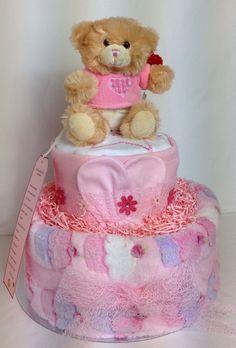 Cute Girls Cupcake Nappy Cake www.facebook.com/itzybitzybasketsuk