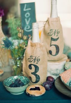 Burlap Wine Covers