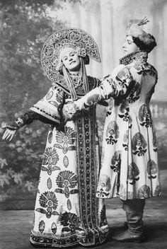 Anna Pavlova and Mikhail Mikhailovich Mordkin. Costumes based off of traditional Russian fashions.