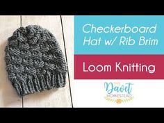 Loom Knitting Checkerboard Hat With Uwrap Rib Stitch Brim - # webstuhl stricken schachbrett hut mit uwrap rib stitch krempe - # loom knitting checkerboard hat with uwrap rib stitch brim - Loom Knitting Stitches, Loom Knit Hat, Knifty Knitter, Loom Knitting Projects, Knitting Videos, Knitting For Beginners, Round Loom Knitting, Knitting Kits, Knit Hats