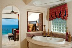 Cabo San Lucas, Mexico Spanish colonial style bath and bed