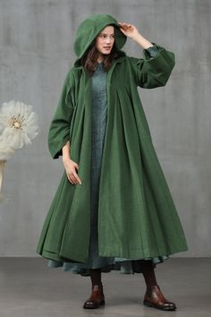 dress and coat outfit Hooded Wool Coat, Long Hooded Coat, Green Wool Coat, Langer Mantel, Bolero, Cashmere Coat, Wool Dress, Linen Dresses, Sweater Dresses