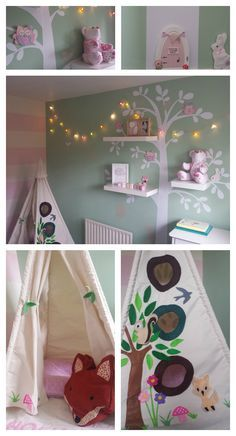 This is my little girls woodland/forest themed nursery/bedroom which has lots of goodies from different facebook pages in it. Tree shelf decal from KinkyWall on Etsy Magical Teepee from Twinkle Teepees and Play Tents Foxy cushion from Ihearthomes Felty Friends from The Banner Boutique Forest Fairy Door from Some Birdie Loves Me x Memory Bear from Making Mini Memories www.thecraftycalf.co.uk