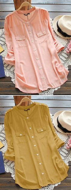 O-NEWE Casual Pure Color Button Long Sleeve Blouses for Women can cover your body well, make you more sexy, Newchic offer cheap plus size fashion tops for women. Dress Shirts For Women, Blouses For Women, Cute Comfy Outfits, Casual Outfits, Blouse Styles, Blouse Designs, How To Wear Flannels, Fancy Dress Design, Plus Size Fashion
