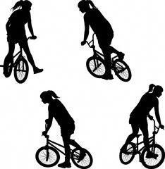 silhouette of girl doing bike trick on BMX bicycle - Buy this stock vector and explore similar vectors at Adobe Stock Bmx Cake, Printable Stencil Patterns, Bmx Ramps, Bmx Girl, Bmx Street, Bicycle Wedding, Sports Wall Decals, Bmx Racing, Bmx Freestyle