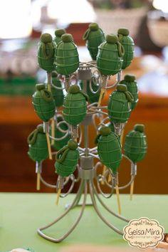 fabulous CAMOUFLAGE PARTY: Detonator pops Army Birthday Cakes, Paintball Birthday, Army Birthday Parties, Paintball Party, Army's Birthday, Nerf Party, Birthday Party Themes, Camouflage Party, Camo Party