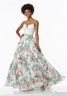 Charming New Coming Mori Lee 99005 Pattern Satin and Printed Organza Prom Party Gowns Mori Lee Prom Dresses, A Line Prom Dresses, Pageant Dresses, Junior Dresses, Satin Dresses, Floral Dresses, School Dance Dresses, School Dances, Stunning Prom Dresses