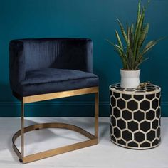 Half Circle Dining Chair in Blue