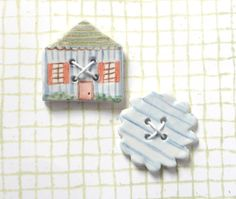 Ceramic Buttons, Large Miniature House and Round Scalloped Edge Buttons, Blue White Red and Green