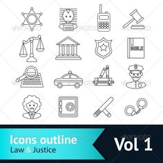 Buy Law and Justice Icons Set by macrovector on GraphicRiver. Law and justice business icons set of police court lawyer judge vector illustration. Editable EPS and Render in JPG f. Flat Design Icons, Icon Design, Free Badges, Law And Justice, Sketch Notes, Kids Artwork, Business Icon, Icon Collection, Pictogram