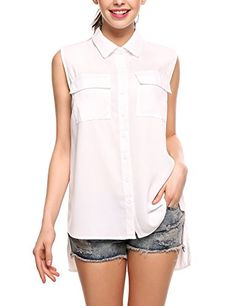 Special Offer: $15.99 amazon.com 100% Brand New Brand: Zeagoo Material: 100% Polyester Fabric: Chiffon Collar: Turn Down Collar Shirt Sleeve: Sleeveless Blouse Sleeve Type: Tank Tops Pattern: Solid Closure Type: Button Down Occasion: Casual Season: Summer Our Model Information: Height...