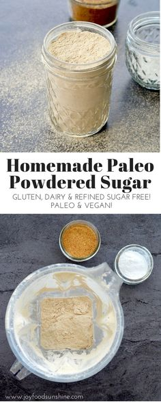 DOING Homemade Paleo Powdered Sugar Recipe! Make your own healthy powdered sugar in 5 minutes with only 2 ingredients! Paleo Dessert, Dessert Sans Gluten, Healthy Sweets, Dessert Recipes, Paleo Vegan, Paleo Diet, Paleo Food, Vegetarian Diets, Vegan Butter