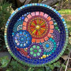 12 inch dish can be used as a bird or dragonfly water dish or coffee table tray Outdoor safe in warm weather Please take your garden art indoor during cold months If you. Mosaic Birdbath, Mosaic Garden Art, Mosaic Flower Pots, Mosaic Pots, Mosaic Glass, Mosaic Tables, Pebble Mosaic, Mosaic Crafts, Mosaic Projects