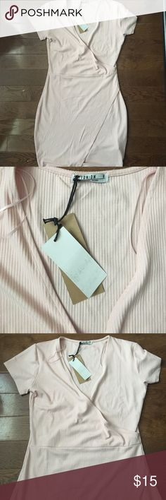 NUDE PINK MINI WRAP DRESS *BRAND NEW* It's never been used, new with tags! Perfect for any party or dinner with the girls!! Cotton On Dresses Mini