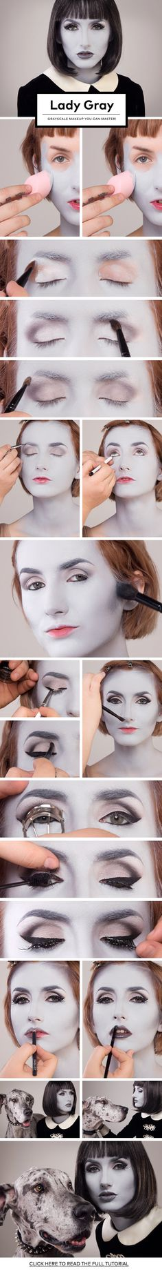 Lady Gray: Grayscale Makeup You Can Master! Lady Gray: Grayscale Makeup You Can Master! Makeup Fx, Cosplay Makeup, Costume Makeup, Party Makeup, Makeup Ideas, Ghost Makeup, Face Makeup, Costume Halloween, Boo Costume