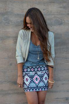 Street style | Grey top, aztec printed skirt, jacket