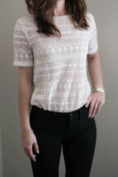 Feminine short sleeve all over crochet lace top with pearl detailing along the neckline. Content + Care: 100% Cotton Hand Wash Please note: Sizes run a little small, please order one size up