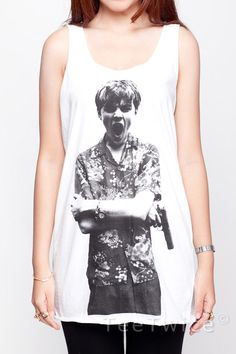 Leonardo DiCaprio Shirt Romeo and Juliet Shirts  Women Tank Top  White Shirt Tunic Top Vest Sleeveless Women T-Shirt Size S M. $15.99, via Etsy.