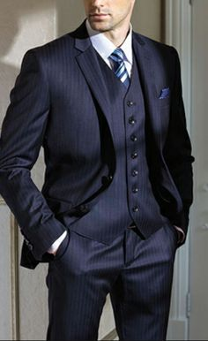 Blue Pinstripped three piece - Daily Suits by http://www.NobleGrooming.com