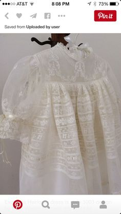 Lovely white dedication dress with lace insertion and hand embroidery. Beautiful heirloom sewing by Miss Dot Still. Baptism Outfit, Baptism Dress, Christening Gowns, Frocks And Gowns, Angel Gowns, First Communion Dresses, Vintage Baby Clothes, Baby Couture, Linens And Lace