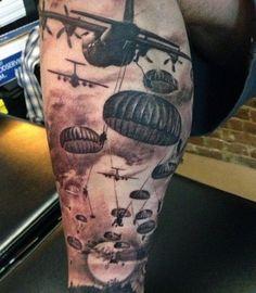 Top 100 Military Tattoo Ideas — ✔️ 2020 Trend Update - Cool Parachute War Tattoos For Men - Army Tattoos, Military Tattoos, Weird Tattoos, Cool Tattoos For Guys, Badass Tattoos, Trendy Tattoos, Body Art Tattoos, Sleeve Tattoos, Tattoo Ideas
