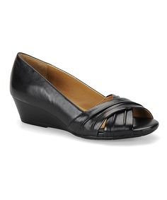 Look at this Black Carolena Leather Wedge on #zulily today!