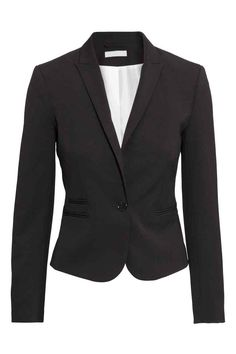 Fitted jacket: Fitted, single-breasted jacket in woven fabric with jetted front pockets, peak lapels, a slit at the cuffs with decorative buttons and a single back vent. Lined.