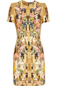 Alexander McQueen|Printed cady dress|NET-A-PORTER.COM