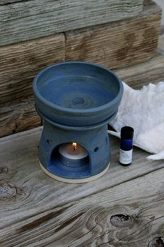 rustic blue #aromatherapy oil burner by #earthformsbymarie on Etsy, $30.00 #ceramic #pottery