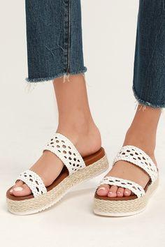 1074e2ea56b Fun White Espadrille-Wrapped Sandals - Cute Espadrille Flatforms White  Espadrilles