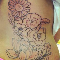 Flower tattoo, back tattoo, flower outline tattoo, black and white tattoo