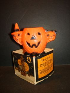 Vintage-Halloween-Plastic-Jack-O-Lantern-Original-BOX-JOL-Pumpkin-Witch-Cellowax